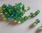 8mm Green Yellow Baroque Shape Glass Beads - 48 pcs - Two Tone Bead Supply - Bella Mia Beads