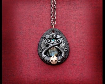 Labradorite Necklace Renaissance Pirate Treasure Sculpture Polymer Clay Jewelry Gothic Jewelry Skull Victorian Vintage Style Goth Fashion