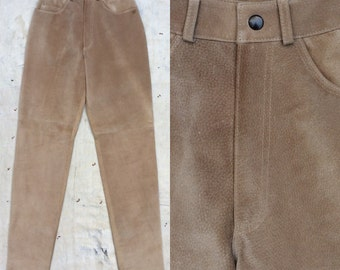 vintage ca. 1990s US made tan suede high waisted jeans
