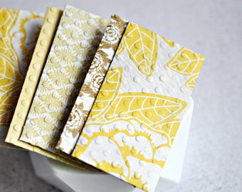 Yellow Mini Envelopes {5 w. cards/ seals}   Patterned Envelopes   Cute Stationery   Gift under 10   Mothers Day