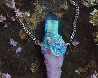 Aqua Aura Quartz Necklace - Aqua Aura Quartz with Spirit Quartz and Pastel Ocean Swirls - Iridescent Pastel Mermaid Necklace - Neirayyeni