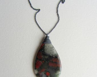 Bloodstone Necklace Oxidized Sterling Silver Chain Antiqued Silver Chain Black Red Natural Stone Jewelry Gift Made in Seattle Heliotrope