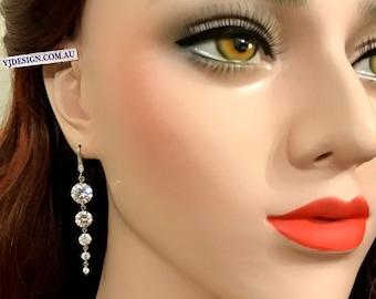 Cz Bridal Earrings, Geometric Wedding Earrings, Dangle Earrings, Silver Bridal Jewelry, Gold Wedding Jewelry, Bridesmaid Gift for Her, GRACE