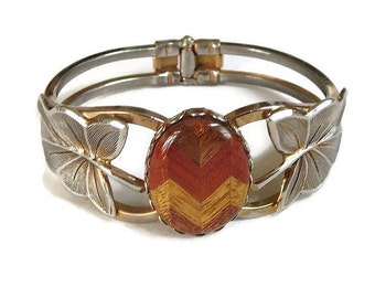 Laminated Wood Cabochon Clamper Bracelet Vintage Hinged with Leaves
