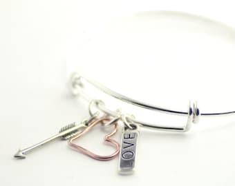 Valentine Bracelet, Silver Bangle Bracelet, Charm Bracelet, Sterling Silver, Heart Bracelet, Gift, Sweetheart Bracelet, Wedding Bracelet