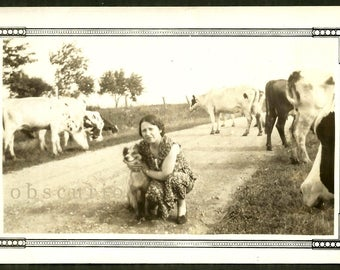 Goofy Grin Dog & Woman - Cows on Country Road - 1930s Snapshot Photo