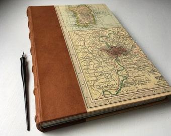 Heirloom Italy Journal, Large Sketchbook with Leather Spine, fine art papers, vintage Italy map, European-style binding