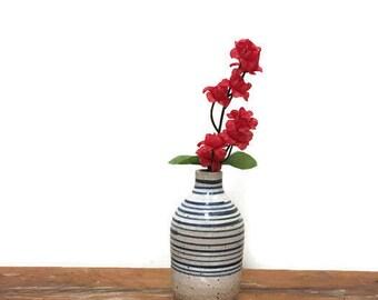 Small Vintage Vase - Stoneware - Studio Pottery - Blue and Beige Stripes - Ceramic