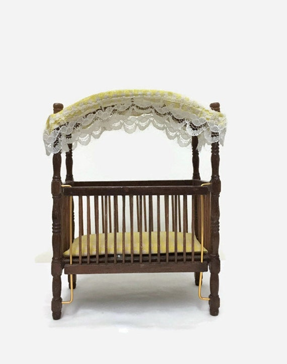 Dollhouse Baby Crib with Canopy - Vintage Miniature Furniture - Wooden