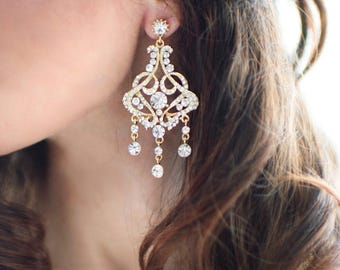 Gold Vintage Style Statement Bridal Earrings, Weddings Earrings Gold, Rose Gold, Silver, Crystal Chandelier Earrings  - 'FELICITY'