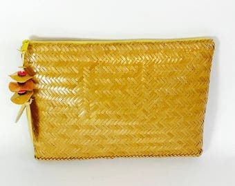 Vintage 1960s Straw Clutch Exclusively for VALERIE Yellow Pouch Rattan Long Purse Woven Lacquered Wicker Bag Retro 60s handbag