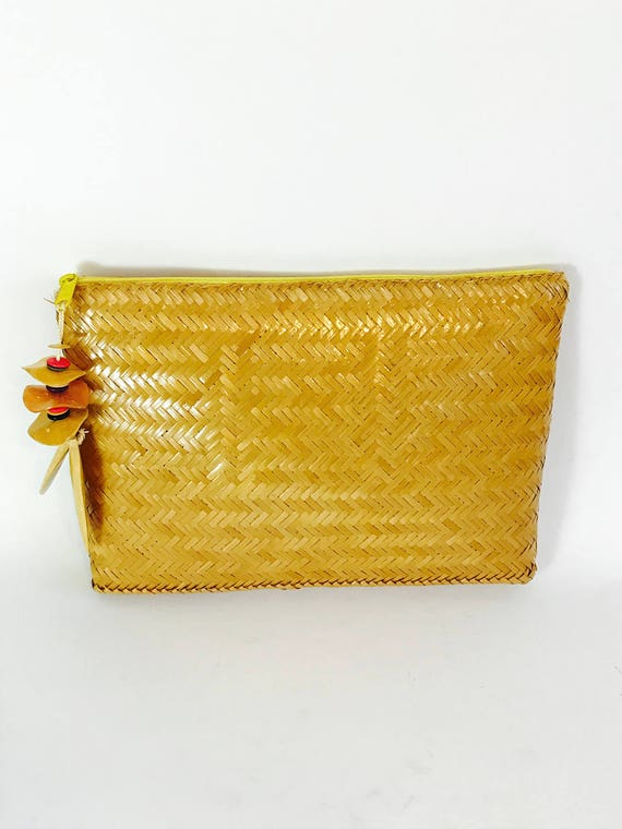 Bright Golden Yellow 1960s Straw Clutch True Vintage  by Exclusively for VALERIE Rattan Long Thin Woven Purse Lacquered Wicker 60s Handbag