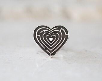 Heart Maze Ring, Labyrinth Ring, Heart Signet Ring, Maze Ring, Heart , Puzzle Ring, Handmade Jewelry by Prairieoats