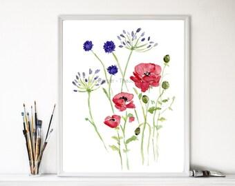 Field flowers art print, wild flowers print, botanical flowers, flowers watercolor field, anemone print, floral artwork, home decor, red