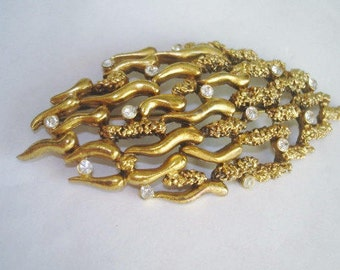 Tortolani Modernist Clear Rhinestone Gold Tone  Brooch