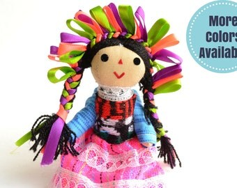 Small Handmade Cotton Doll, Rag Mexican Doll, Rag Cotton doll, Gift for girls, Cotton Doll, Gift for girl, Gift for her, Gifts Under 20