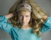 Cinderella Ella Headband - Servant Girl Ella Head Wrap , Womens Cinderella 2015 Servant Girl Kerchief , boho peasant lace headband for girls