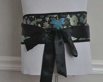 Japanese Obi Belt - Figure slimmer - Waist cincher - Reversible Black Satin/Black Green Blue Blossom Brocade Obi Belt, Wrap Belt