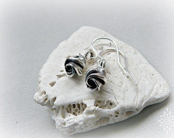 Flower earrings, floral earrings, dainty earrings, silver earrings, silver rose jewelry, Thai Karen silver rose earrings, rosebud earrings