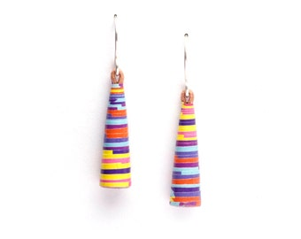 Candy Stripes Earrings - Colorful Earrings - Fun earrings - Colorful dangle earrings - Small dangle earrings - Colorful jewelry -Fun jewelry