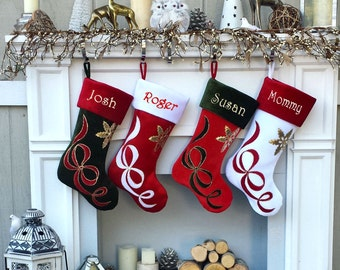 Embroidered Stockings - Velvet Christmas Applique - Custom Personalized - Available in Different Colors