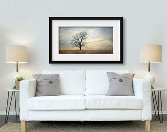 Country Print, Landscape Photography, Tree Photograph, Farmhouse Print, Tree Art, Sunset Photograph, Large Canvas Art