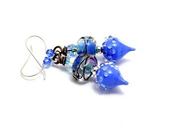 Sapphire Glass Bead Earrings. True Blue Lampwork Bead Earrings. Small Dangle Earrings. Artisan Headpins. Gifts For Her. Lampwork Jewelry.