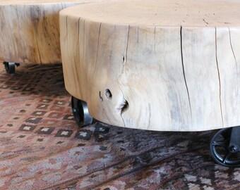 Coffee Table Stump Pair Vintage Casters