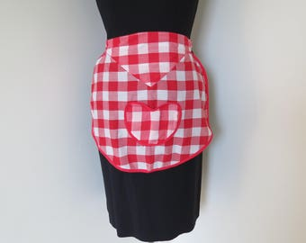 Vintage Red and White Half Apron - Heart Shaped Pocket Midcentury Hostess Apron