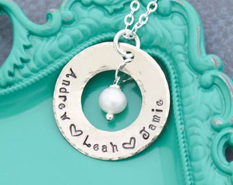 FREE SHIP • Mother Necklace • Kid Names Necklace Mom Birthday Gift for Her • Handstamped Mom Gift Mother Jewelry •Name Custom Pearl Necklace