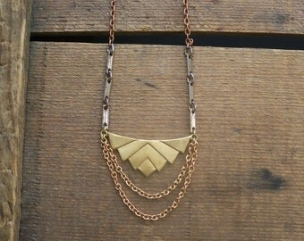 chevron necklace / brass jewelry / handmade jewelry / GEOMETRIC BRASS DANGLER