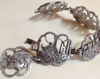 Exotic Art Nouveau Panel Bracelet - One Thousand and One Nights - 1960s Jewelry