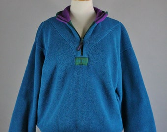 Women's Trek Teal Fleece Zipper Pullover, Vintage 90s,  Camping Outdoor Ski Hiking, Size Large, Free Shipping