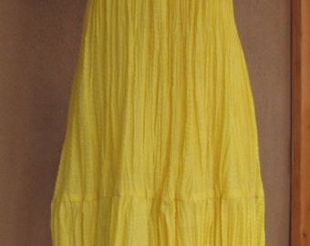 Bright Yellow Embroidered and Pleated Short Sleeves Dress