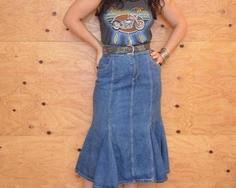 Vintage 80's Denim Jean Mermaid Fishtail Maxi Skirt Size M/L