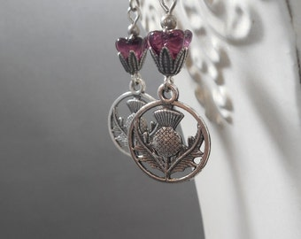 Outlander Jewelry - Scottish Thistle Earrings - Claire in Scotland - Reign Jewelry - Gift for Her - Woodland Jewelry - Womens Jewelry