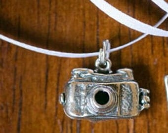 Sterling silver camera cake pull charm on white satin ribbon by kellylynndesigns on etsy.com