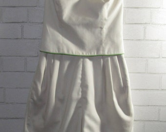White Tube Top Dressy Romper with Green Trim, Small