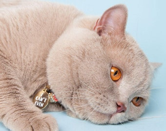 "Gold Pet ID Tag - Cat Name Identification ""ugh"" collar ID tag / sassy necklace pendant - gold and white enamel"