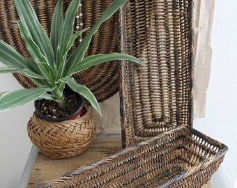 Vintage Long Woven Wicker Basket Set