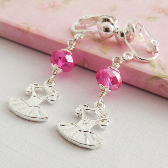 pink ballet clip on earrings childrens clip on by romanticcrafts. Black Bedroom Furniture Sets. Home Design Ideas