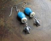 turtle earrings. PAUSE. Kingman Arizona turquoise earrings. December birthstone earrings. blue earrings. shell earrings. ocean sea earrings.