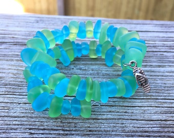 Caribbean Blue Sea and Light Green Glass Mix  Bracelet Beach Bangle in by Wave of Life™