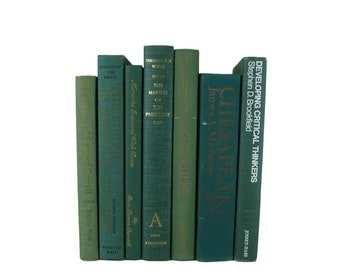 Green Vintage Books, Decorative Book, , Gift For Book Lover, Gift, Housewarming,   Home Decor,
