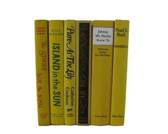 Yellow Decorative Books , Yellow  Vintage Books , Home Decor , Old Books ,  Photo Prop , Table Setting , Wedding Decor