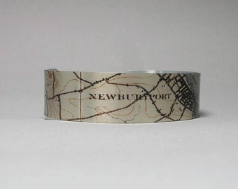 Newburyport Massachusetts Map Cuff Bracelet Narrow Unique Gift for Men or Women