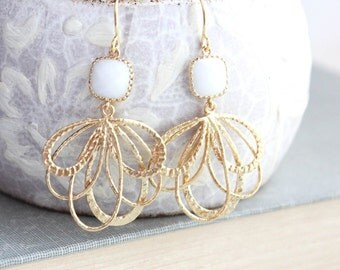 White Glass Earrings, Modern Gold Earrings, Filigree Dangles, Floral Hoops, Bridesmaids Jewelry, Bridal Earrings, Chandelier Earrings