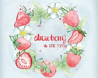 Strawberries Digital Clipart Watercolor. Cute summer kitchen clip art images for digital scrapbooking, cards. Strawberry printables download