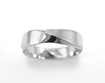 Mobius Wedding ring, 5mm Rectangle Profile Mobius Ring In 14k White Gold, Mobius Wedding Band, Modern & Contemporary, Mens Wedding Band