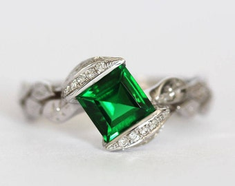 Emerald 18k Leaves Engagement Ring, Emerald Engagement Ring, Princess Cut Emerald Leaf Ring, Emerald And Diamond Leaves Engagement Ring